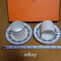 HERMES Paris Authentic Cup & Saucer Chaine D'ancre Demitasse Tableware Set of 2
