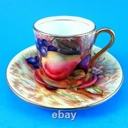 Hand Painted Signed Fruit Design D. Jones Aynsley Demitasse Tea Cup and Saucer