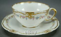 Haviland Limoges Pink Rose Blue Floral & Double Gold Bows Demitasse Cup & Saucer