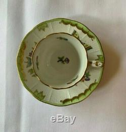Herend Demitasse Cup & Saucer Pair in Blue Garland and Queen Victoria, MINT
