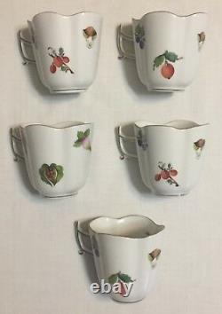 Herend Porcelain Fruits & Flowers Demitasse with Saucer Set of 5