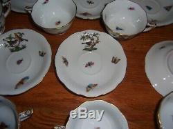 Herend Rothschild Bird Pattern Set of 8 Demitasse Cups/Saucers -beautiful