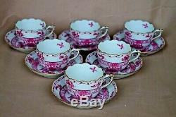 Herend Waldstein red mocha or demi-tasse 6 cups and 6 saucers 711