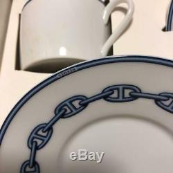 Hermes Chaine D'ancre Demitasse Cup and Saucer 2 set Blue Espresso Withbox