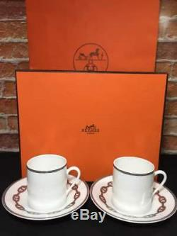 Hermes Chaine D'ancre Demitasse Cup and Saucer 2 set Platinum coffee 150