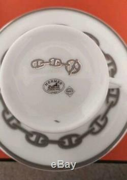 Hermes Chaine D'ancre Demitasse Cup and Saucer Set 2 Platinum Silver coffee M155