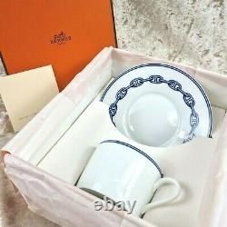 Hermes Demitasse Cup & Saucer CHAINE D'ANCRE Blue Authentic with Case (NEW)