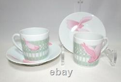 Hermes Pivoines Espresso Cup and Saucer 2 set Pink flower coffee Demitasse