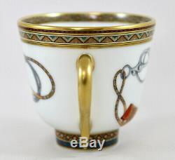 Hermes Porcelain France Cheval D'orient Demitasse Coffee Cup & Saucer