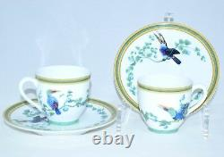 Hermes Toucan Demitasse Cup and Saucer 2 set Green bird Espresso Dinnerware