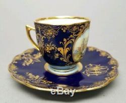 Heufel Dresden Hand Painted Courting Scene Cobalt Gold Demitasse Cup & Saucer #2