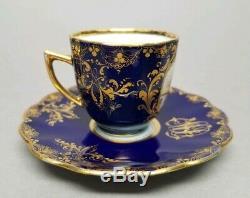 Heufel Dresden Hand Painted Courting Scene Cobalt Gold Demitasse Cup & Saucer #5