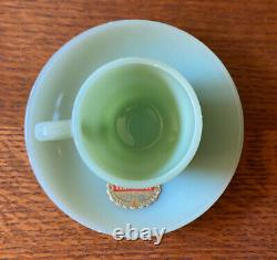 Jadite Fire King Demitasse Cup and Saucer with Label