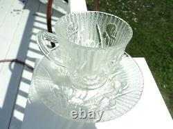 Jeannette Iris And Herringbone Crystal Demitasse Cup And Saucer