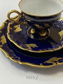 Jlmenau Echt Kobalt Cobalt Blue Gold Scroll Demitasse Cup & Saucer Set GDR