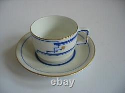 KPM 1925-1945 Demitasse cup & saucer set Art Deco Modern design blue white gold