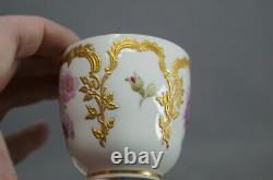KPM Berlin Neuzierat Hand Painted Floral & Raised Gold Demitasse Cup & Saucer E
