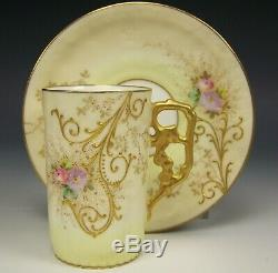 LIMOGES HAND PAINTED RAISED ROSES DAISY DEMITASSE CHOCOLATE CUP & SAUCER a