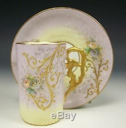 LIMOGES HAND PAINTED RAISED ROSES DAISY DEMITASSE CHOCOLATE CUP & SAUCER b