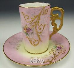 LIMOGES HAND PAINTED RAISED ROSES DAISY DEMITASSE CHOCOLATE CUP & SAUCER c