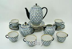 LOMONOSOV COBALT NET USSR RED MARK 21 PC COFFEE SET with DEMITASSE CUPS & SAUCERS
