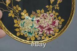 Late Meiji Period Satsuma Pink & Green Roses Matte Black Demitasse Cup & Saucer