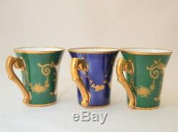 Le Tallec Paris France Demitasse 6 Cups Saucers Set Blue Green Floral Gold