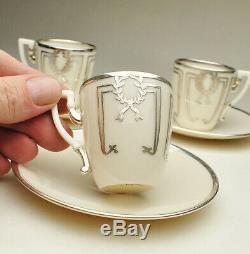 Lenox Belleek STERLING Silver Overlay Demitasse Cup & Saucer