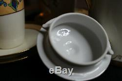 Limoges Antique Hand Painted Brauer Chocolate Pot Set Demitasse Cups and Saucers