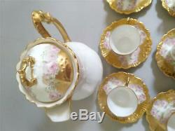 Limoges B&H Roses Teapot or Chocolate Pot With Demitasse Cups & Saucers Set
