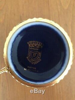 Limoges Cobalt Blue 24k gold porcelain demitasse cups and saucers set of 6