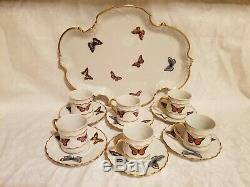 Limoges Demitasse Cups, Saucers / Tray With Butterflies