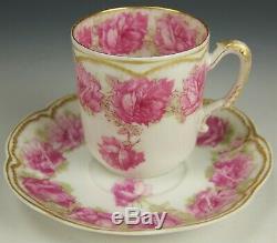 Limoges Haviland Drop Rose Double Gold Demitasse Tea Cup Saucer (b)