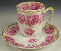 Limoges Haviland Drop Rose Double Gold Demitasse Tea Cup Saucer (c)
