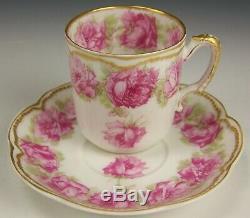 Limoges Haviland Drop Rose Double Gold Demitasse Tea Cup Saucer (d)