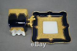 Limoges Jean Pouyat Cobalt & Gold Encrusted Square Footed Demitasse Cup & Saucer