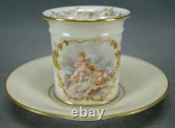 Limoges Klingenberg Cherubs Raised Gold & Ivory Demitasse Cup & Saucer 1880-1899