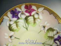 Limoges Pickard Hand Painted Hessler Violet Bouquet Demitasse Cup & Saucer