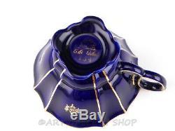 Lindner Kueps Bavaria ECHT KOBALT COBALT BLUE GOLD DEMITASSE CUPS & SAUCERS Set