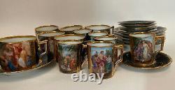 Lot 24 Beehive Ackermann & Fritze Demitasse Coffee Tea Cup Saucer Royal Blue CH2