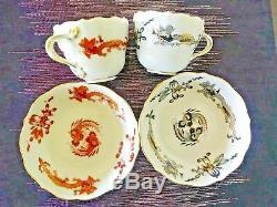 Lot 5 Meissen Dragon Court Demitasse Cup & Saucer Sets