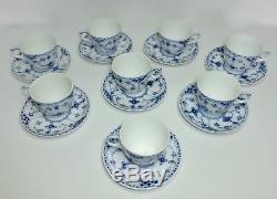 Lot Of 8 Royal Copenhagen Blue Fluted Half Lace Demitasse Cups & Saucers #528