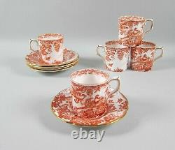 Lot of 5 Royal Crown Derby China RED AVES Demitasse Cup & Saucer Sets