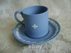 Lovely Pair Of Wedgwood Blue Jasperware Demitasse Cup & Saucer Dancing Hours