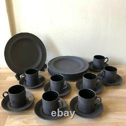 Lovely Wedgwood Black Basalt 8 Plates + 8 Demitasse Cups & Saucers