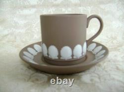 Lovely Wedgwood Taupe Jasperware Demitasse Cup & Saucer With Seashell Design
