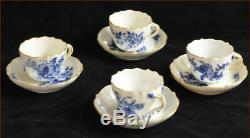 MEISSEN DEMITASSE CUPS & SAUCERS NICE BLUE EACH HAS DIFFERENT FLOWER 8 pieces