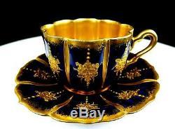 Martial Redon 2873 Limoges Cobalt Blue Petal 1 1/2 Demitasse Cup & Saucer 1891