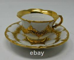 Meissen Baroque Raised Gold Demitasse Espresso Cup and Saucer Mint pre 1924