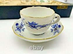 Meissen Boxed Set Porcelain Six Demitasse Cups & Saucers Chinese Dragon Pattern